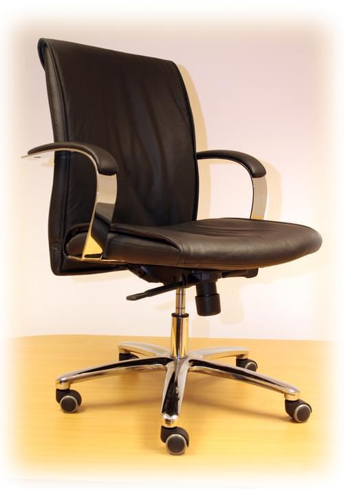 Enagh Executive Black Leather Chair + Chrome Base