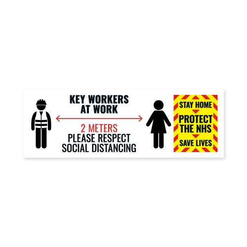 Social Distancing Key Worker Sticker 450mm x 150mm PK5
