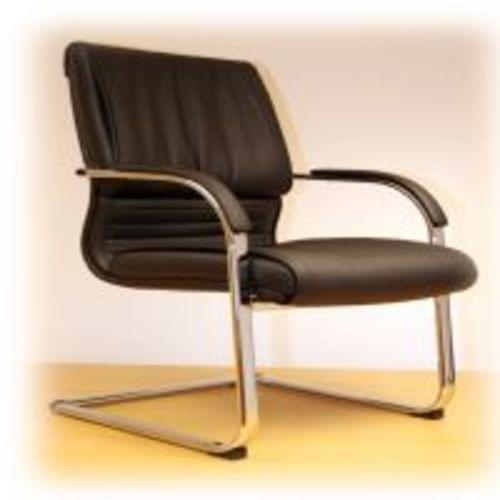 Royal Black Leather Executive Conference Chair + Chrome Base