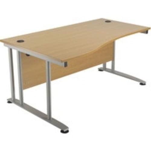 Alana 1600mm Wave Desk Beech Lefthand,Metal Leg