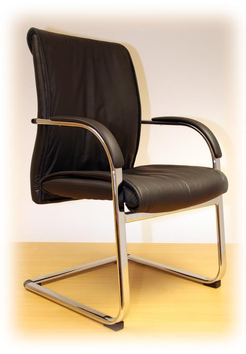 Enagh Executive Black Leather Conference Chair + Chrome Base