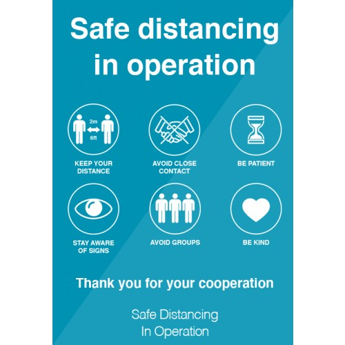 Safe Distancing in Operation Strut Card Signage A4