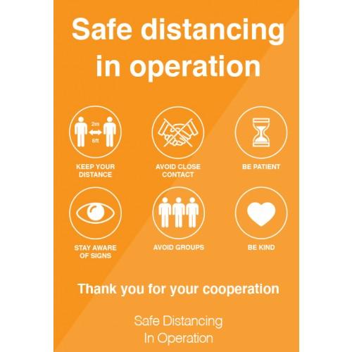 Safe Distancing in Operation Strut Card Signage A3