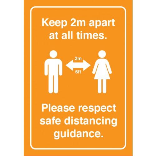 Keep 2M Apart Strut Card Signage A3