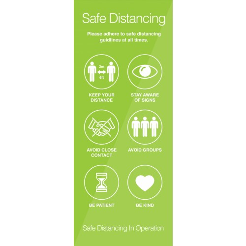 Safe Distancing Instructional Pull-Up Banner 2000mm x 800mm
