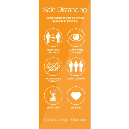 Safe Distancing Instructional Pull-Up Banner 2000mm x 1500mm