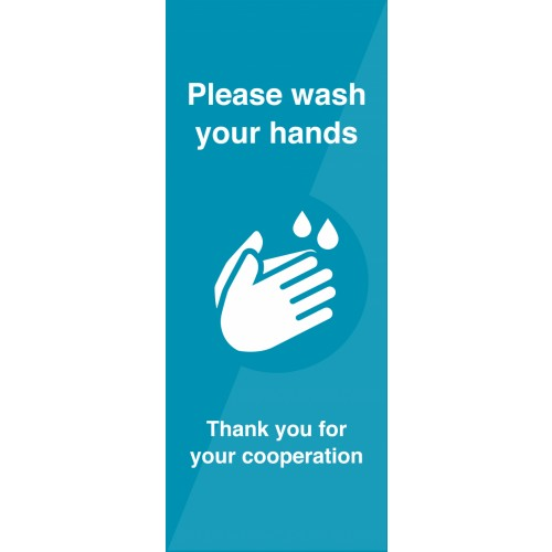 Please Wash Hands Pull-Up Banner 2000mm x 1500mm