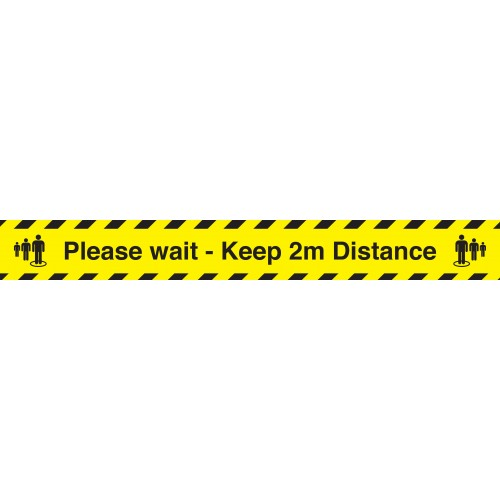 Stop! Maintain 2M Distance Industrial Anti-Slip Adhesive Carpet Strip 800mm x150mm