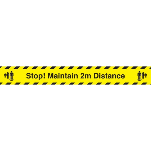 Stop! Maintain 2M Distance Industrial Anti-Slip Adhesive Floor Strip 800mm x150mm