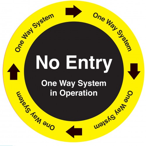 No Entry, One Way Industrial Adhesive Carpet Sign 450mm Diameter