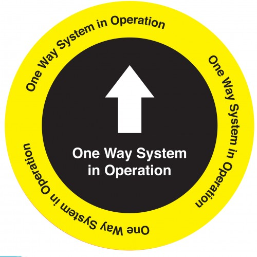 One Way System Industrial Adhesive Floor Sign 350mm Diameter