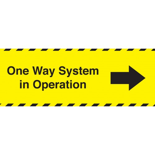 One Way System in Operation Right 300mm X 105mm Adhesive Sticker