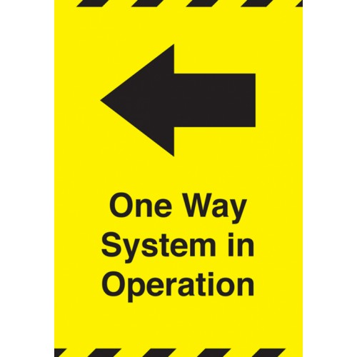 One Way System in Operation Left A6 Rigid Plastic Sign
