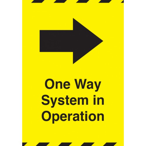 One Way System in Operation Right A4 Adhesive Sticker