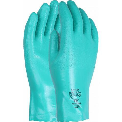 Premium heavy duty 30cm cotton lined nitrile gauntlet with rough finish, Green, Size 09