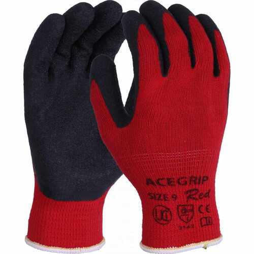 Red polycotton liner with black crinkle latex palm coating gloves, Size 7/S