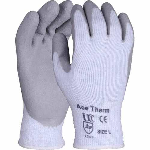 Premium quality thermal terry glove with grey crinkle latex palm coating, Size 8/M
