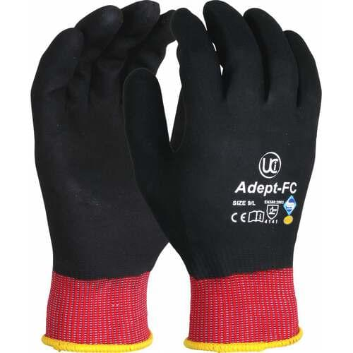 NFT fully coated gloves with red liner, Size 09
