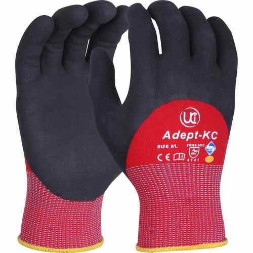 NFT knuckle coated gloves with red liner, Size 09