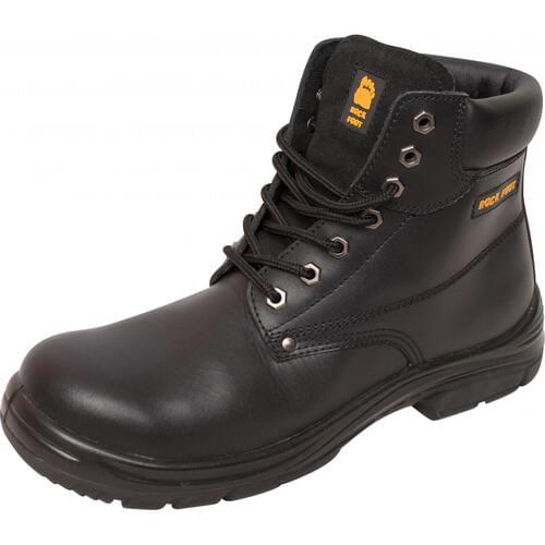 Deluxe black smooth grain leather safety boot, Size 5