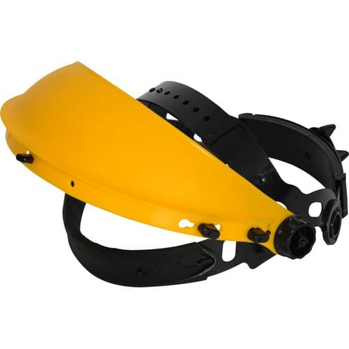 Lightweight browguard with wheel ratchet and sweatband