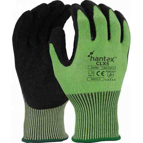 Cut resistant glove with black latex palm coating, Black on Green, Size 10