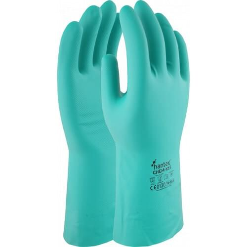 Chemical resistant nitrile gauntlet, Green, Size 08