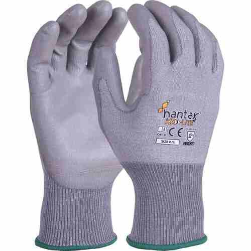 Lightweight cut resistant glove with PU palm coating, Grey on Grey, Size 08