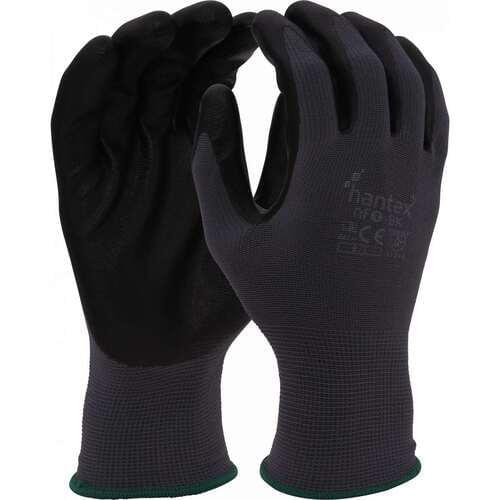 Foam nitrile coated polyester liner gloves, Black on Grey, Size 10