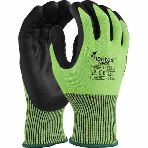 Cut resistant glove with foam nitrile palm coating, Black on Green, Size 08