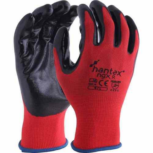 Polyester liner with a tough nitrile coating gloves, Black on Black, Size 07