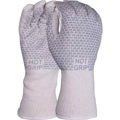 Double thickness heat resistant 28cm terry glove with nitrile grip pattern to both sides, Size 9