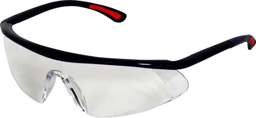 Safety glasses with clear lens and adjustable arms