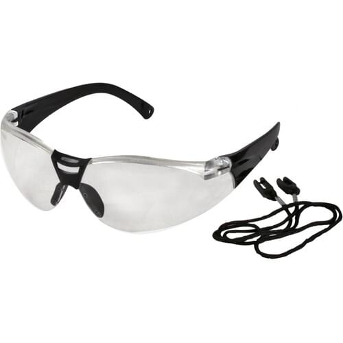 Safety glasses with clear lens, c/w with neck cord