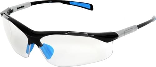 Safety glasses with clear anti-fog lens and adjustable arms and nose bridge