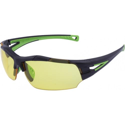 Lightweight sports style safety glasses with yellow lens