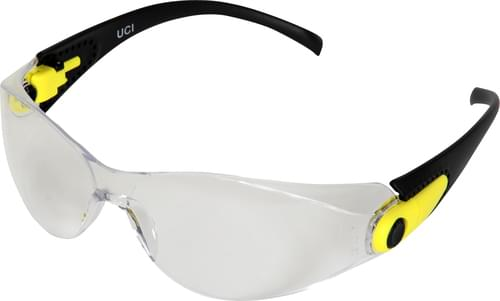 Safety glasses with clear anti-fog lens and angle adjustable arms