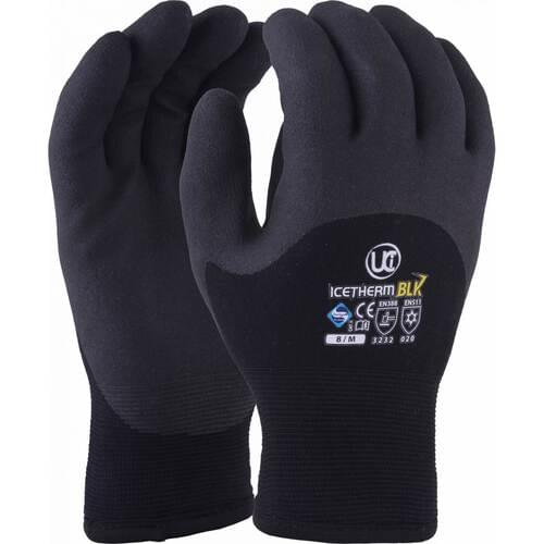 Premium quality thermal Nylon glove with terry loop liner and black HPT coating, Size 08