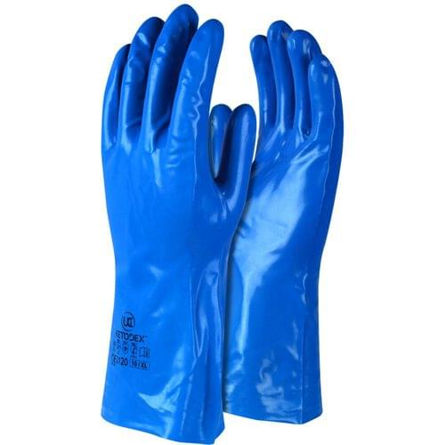 Unsupported chemical gauntlet, Blue, Size 09