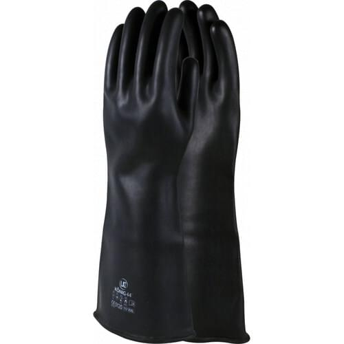Black heavyweight chemical resistant rubber gauntlet 60cm, (13mm Thick), Size 09