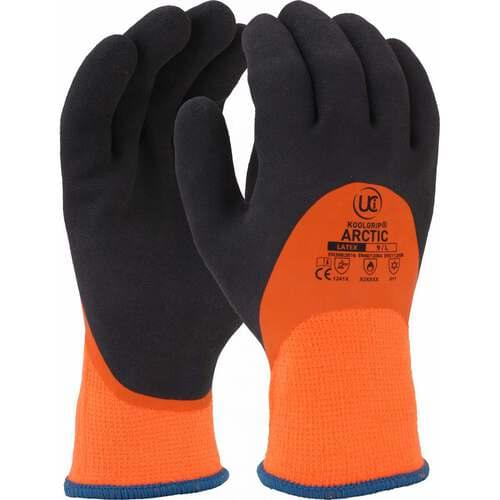 Thermal dual latex coated glove, Orange with Black 3/4, Size 09