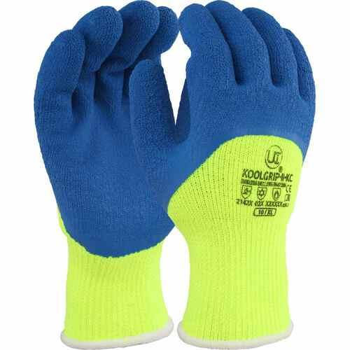 Hi-vis, thick 7g Yello with blue latex palm coated glove with knuckle coating, Size 08