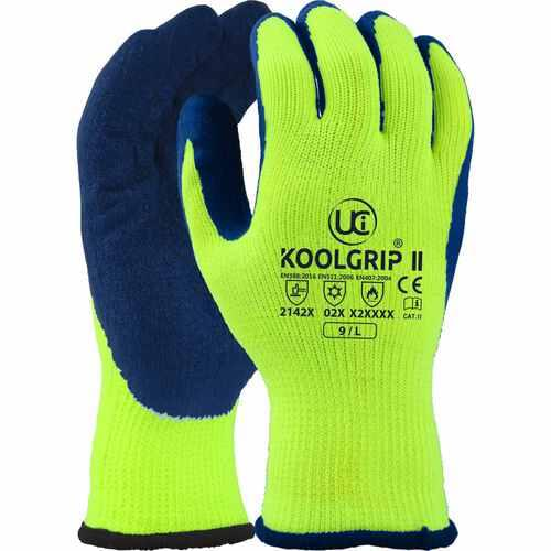 Hi-vis, thick 7g Orange with blue latex palm coated glove, Size 08