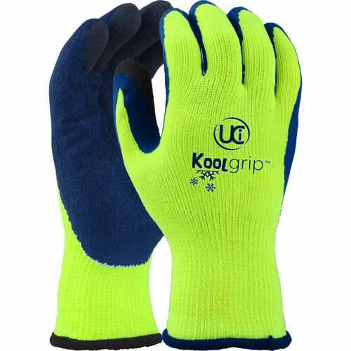 Hi-vis, 7g Orange with blue latex palm coated glove with double dipped fingers, Size 08