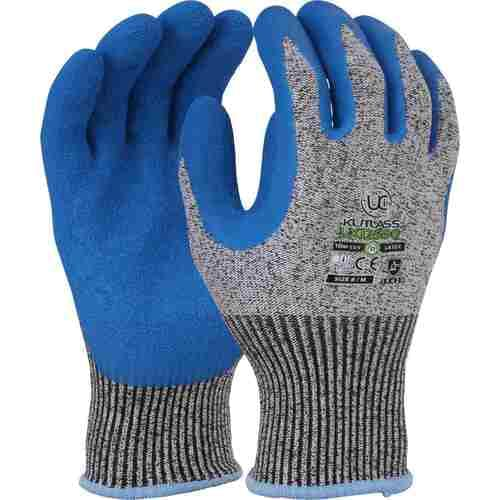 High cut resistant liner with blue crinkle latex palm coating gloves, Size 11