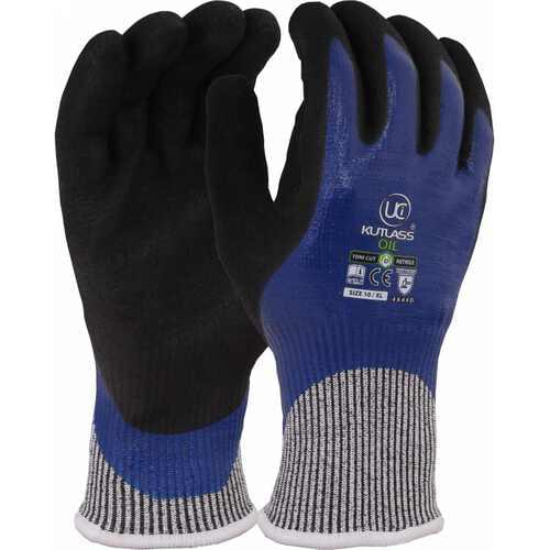 High cut resistant liner with dual nitrile coating glove, Black/Blue, Size 07