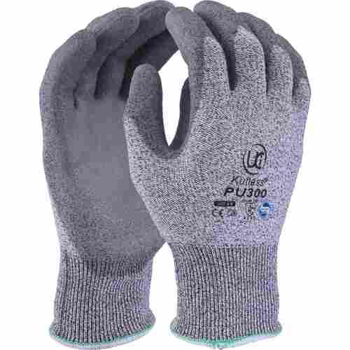 High cut resistant grey HPPE glove with PU coated palm, Grey on Grey, Size 7