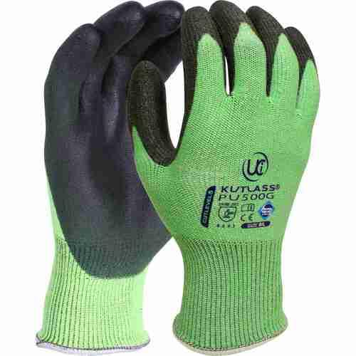 High cut resistant green liner with flexible PU palm coating, Size 8
