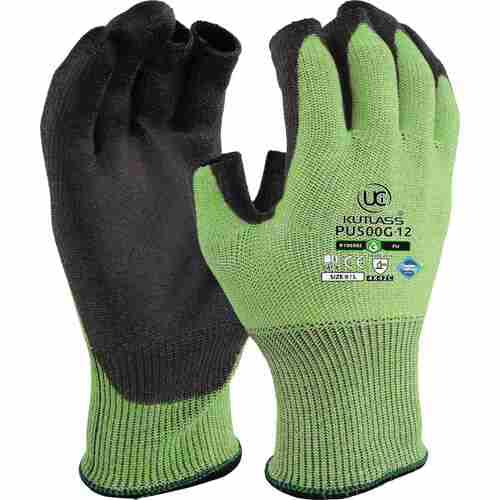 High cut resistant green liner with flexible PU palm coating, Part fingerless, Size 8