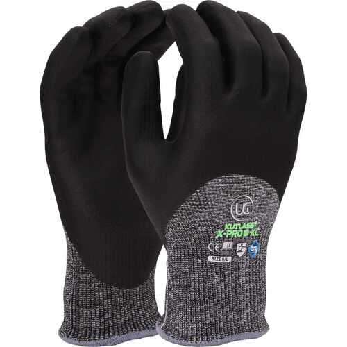 High cut resistant liner with foam nitrile knuckle coating glove, Size 08
